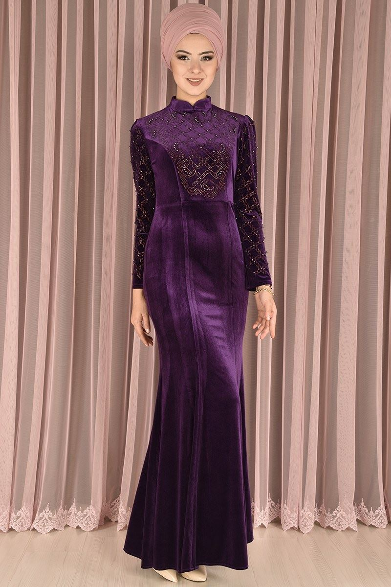 dfc655591480f Pearly Velvet Evening Dress Purple RZG 6709